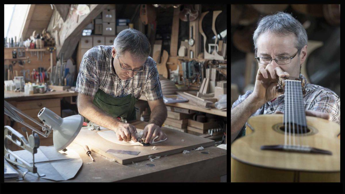 Portraitfotografie-Kunsthandwerk-Zupfinstrumentenbauer-Urs-Langenbacher-Füssen-Werkstatt-Mandolinen-Gitarren