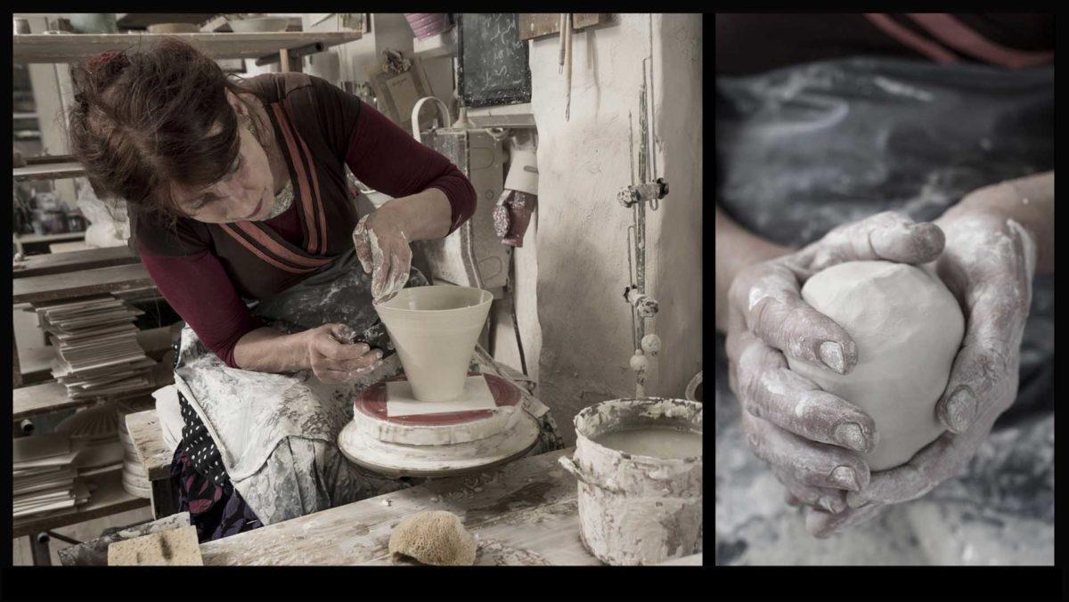 Portraitfotografie-Kunsthandwerk-Keramikmeisterin-töpfern-Werkstatt