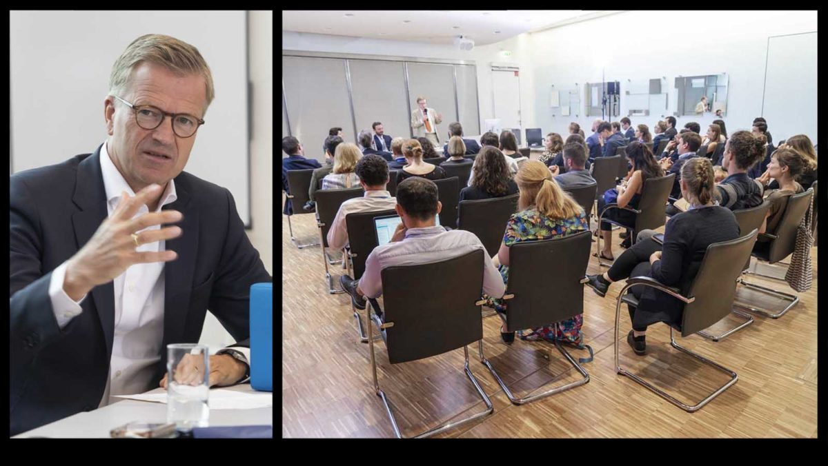 Eventfotografie-Reportage-Allianz-Summer-Academy-Gruppe-Studenten-international-Redner-Dr. Werner Zedelius-Vortrag